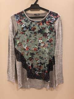 Zara Floral Lace Sweater Size S