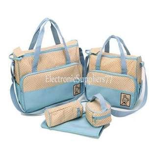 Travel Outdoor Diaper Bag Mom's Bags 5 Piece Set (Light Blue)