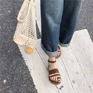 Trio Straps Open Toes Buckle Designed Flats Sandals