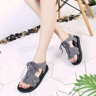Crossed Ribbon Tie Open Toes Suede Trendy Sandals