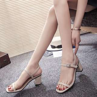 Thin Straps Buckle Designed Open Toes Heels Sandals