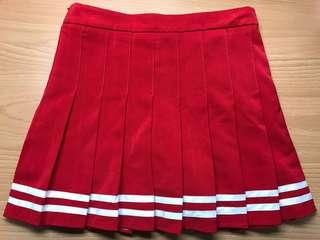 🚚 紅條文百褶裙