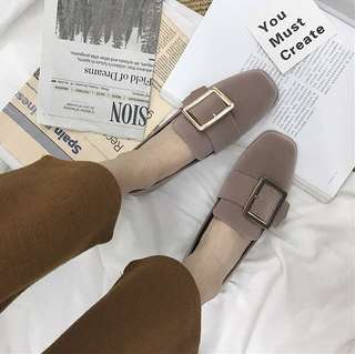 Solid Coloured Square Buckle Korean Style Trendy Loafers
