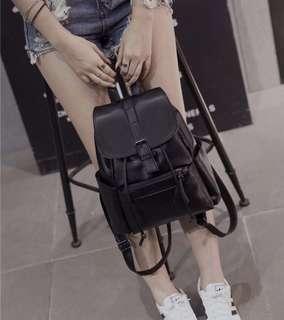 Black PU Leather Bagpack