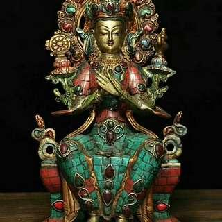 藏傳純銅鑲嵌紅綠松石 貴石 藏教彌勒佛 供養佛像