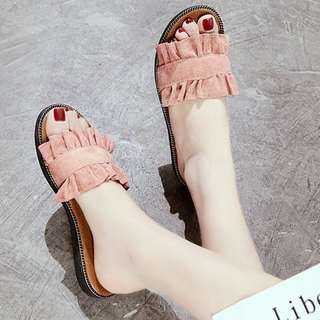 Pastel Coloured Ruffled Straps Suede Open Toes Slippers