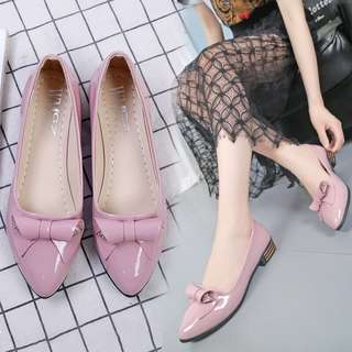 Pastel Coloured Rolled Ribbon Glossy Patent Loafers