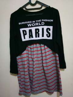 Paris black crop stripe