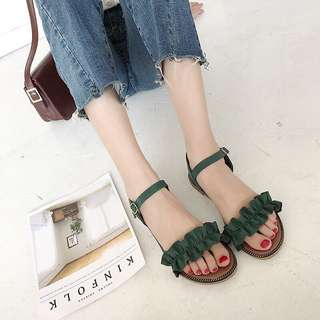 Ruffled Coloured Straps Open Toes Buckle Sandals