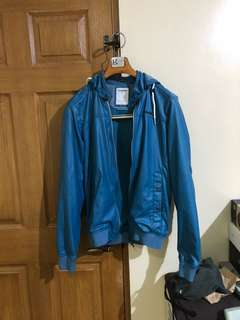 Pull and Bear Blue Leather Jacket with Hoodie