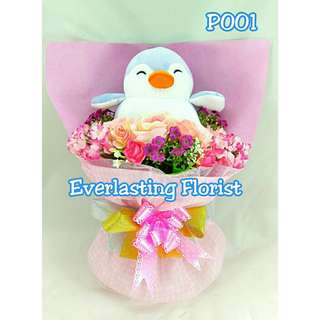 Bucket Penguin (P001) Buket Bunga Boneka Bouquet Wedding Wisuda Engaged Proposed Valentine Anniversary Kado Hadiah Unik