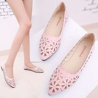 Pastel Coloured Floral Pattern Cut Out Pointy Flats