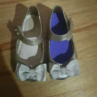 Mini Melissa Ultragirl Bow s8 size 8 Gold Beige shoes sandals kids toddlers baby kikay elegant formal casual