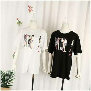 (Po) Black Printed Couple Tshirt