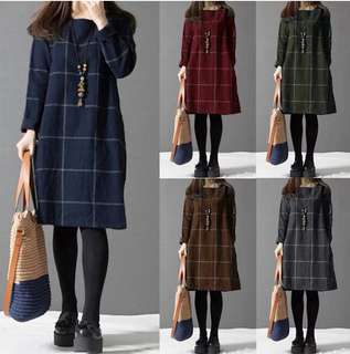 (M~4XL) 2018 Spring loose long-sleeved plaid cotton and linen dress