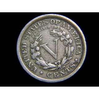 1910年美國BARBER版自由女神頭像5仙鎳幣