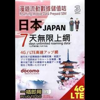 Docomo 4G 特大高速流量 日本7日4G無限上網卡