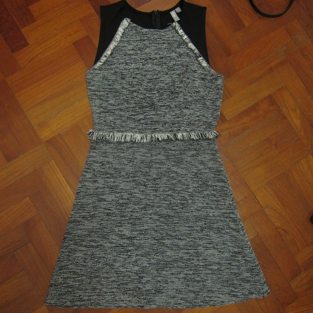 60accf8beb2ab ASOS Skater Dress In Tweed With Fringe Trim, Women's Fashion ...