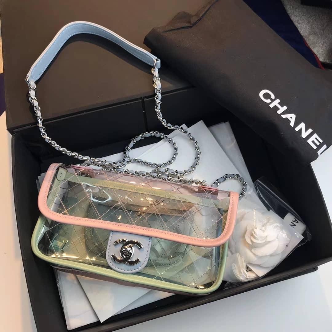 cbab401470368 CHANEL TRANSPARENT PVC BAG