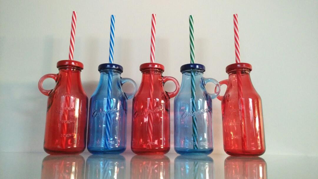 CUTE GLASS MILK BOTTLES