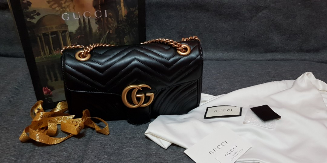 fde10c067291 Gucci GG Marmont Small Shoulder Bag in Black, Luxury, Bags & Wallets ...