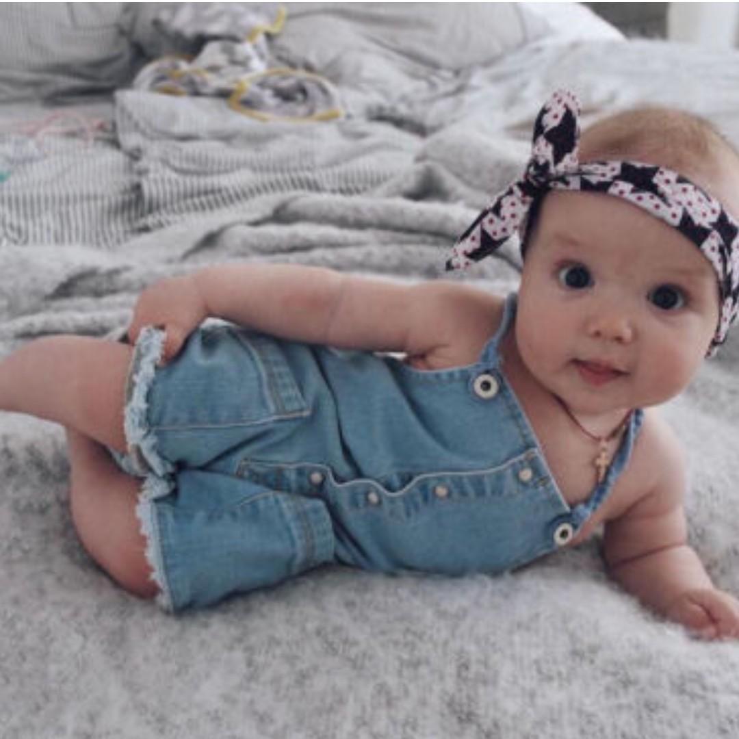 44f1217f008a Newborn Kids Baby Girls Denim Rompers Bodysuit Jumpsuit Sleeveless ...
