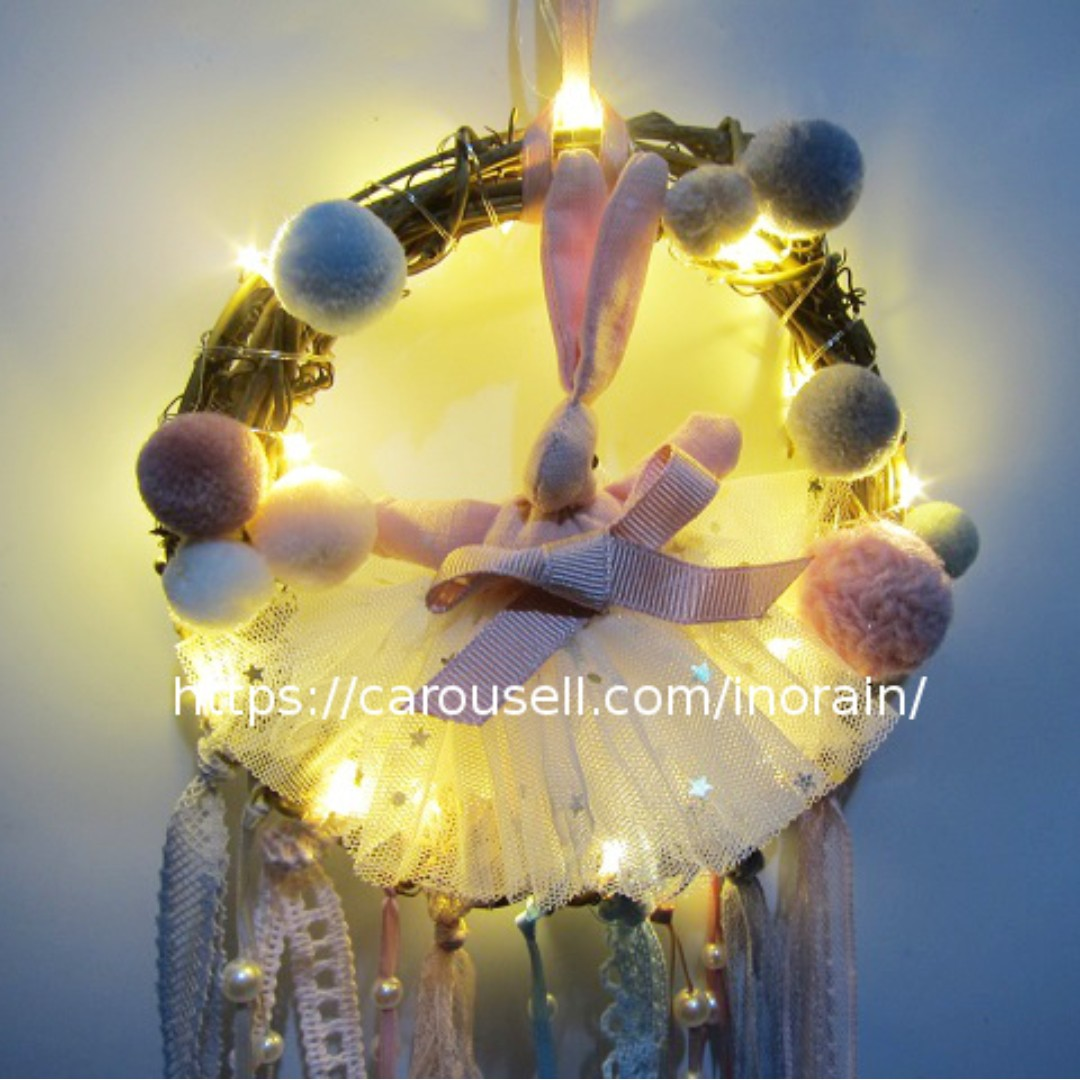 Rabbit Dream Catcher with LED Light / Night Light / Wall Hanging ...
