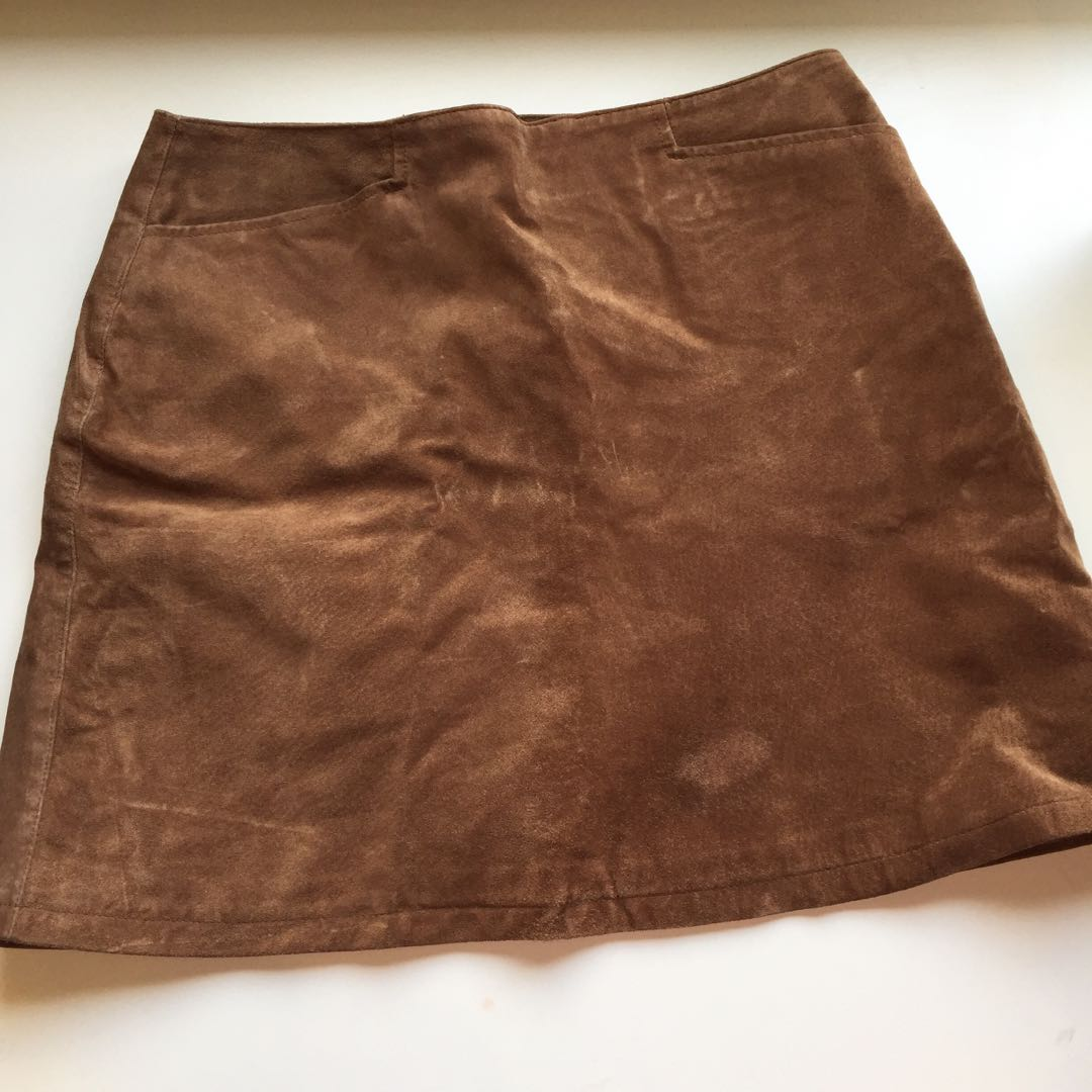 Real suede tan skirt