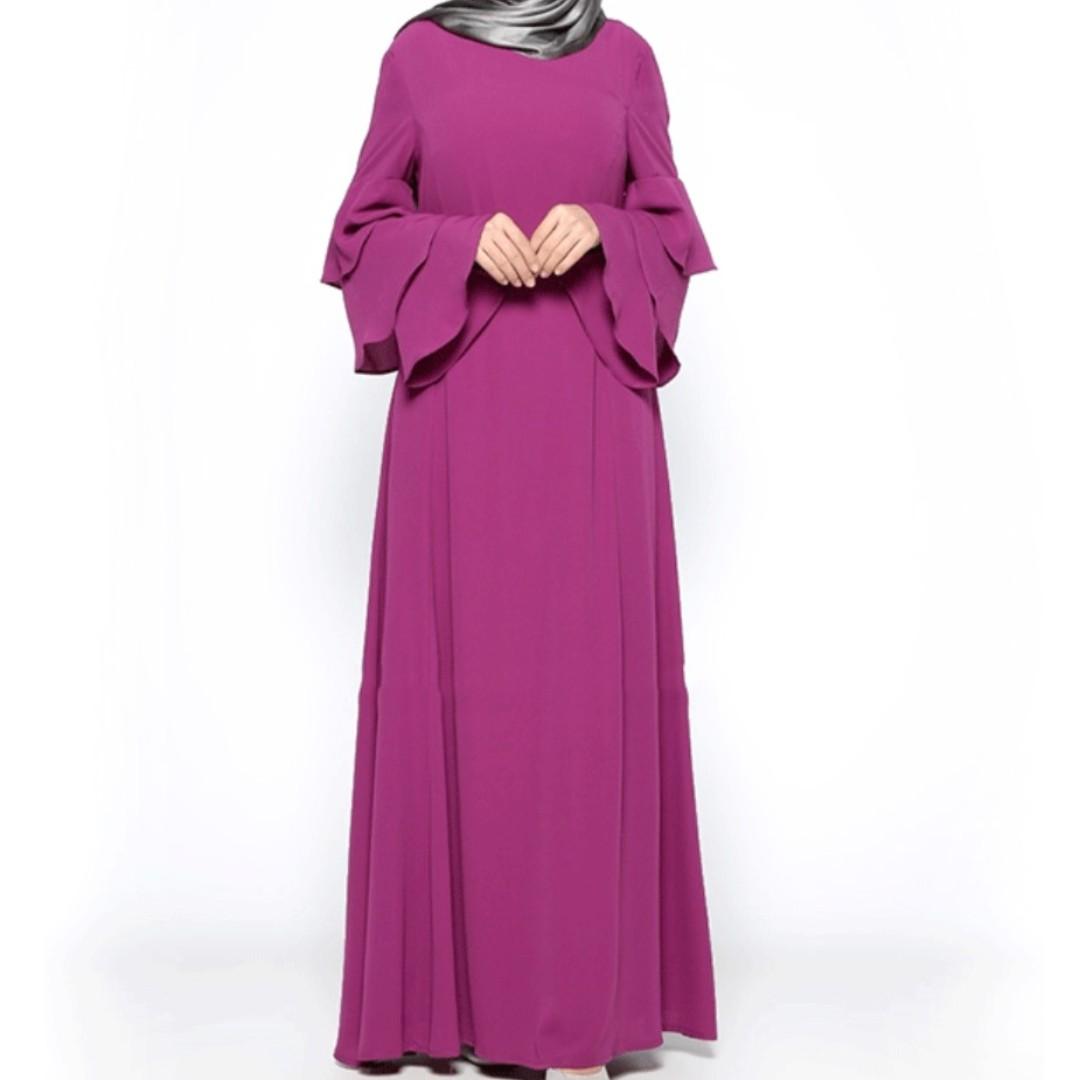 Simple Baju Kurung Baju Raya Loose Dress With Peplum Design Ruffle At Sleeves Trumpet