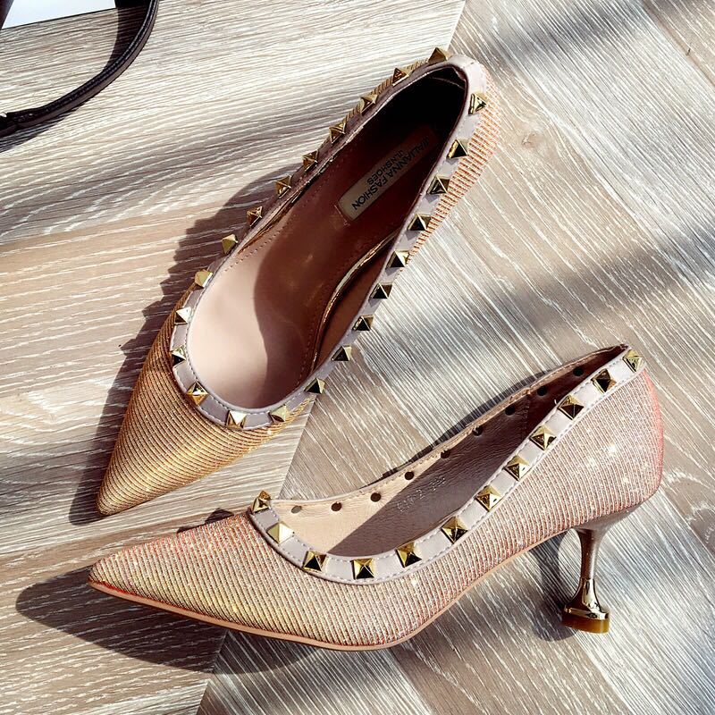 0c3ee06229c9 Size 34-39 Studded Glitter Pointed Toes High Heels, Women's Fashion ...