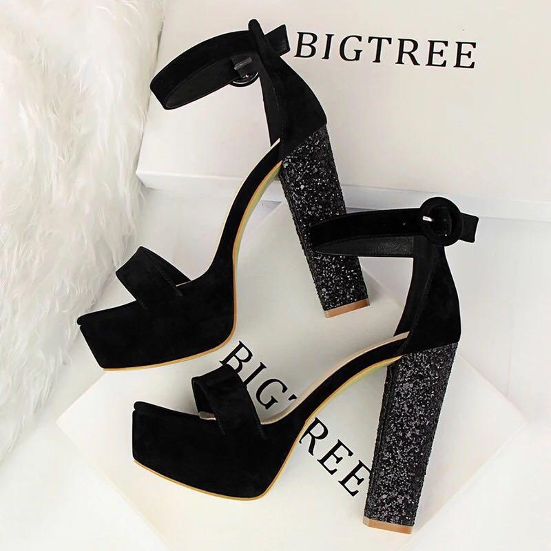 c420267d019 Size 34-40 Peep Toes Glitter Chunky High Heels