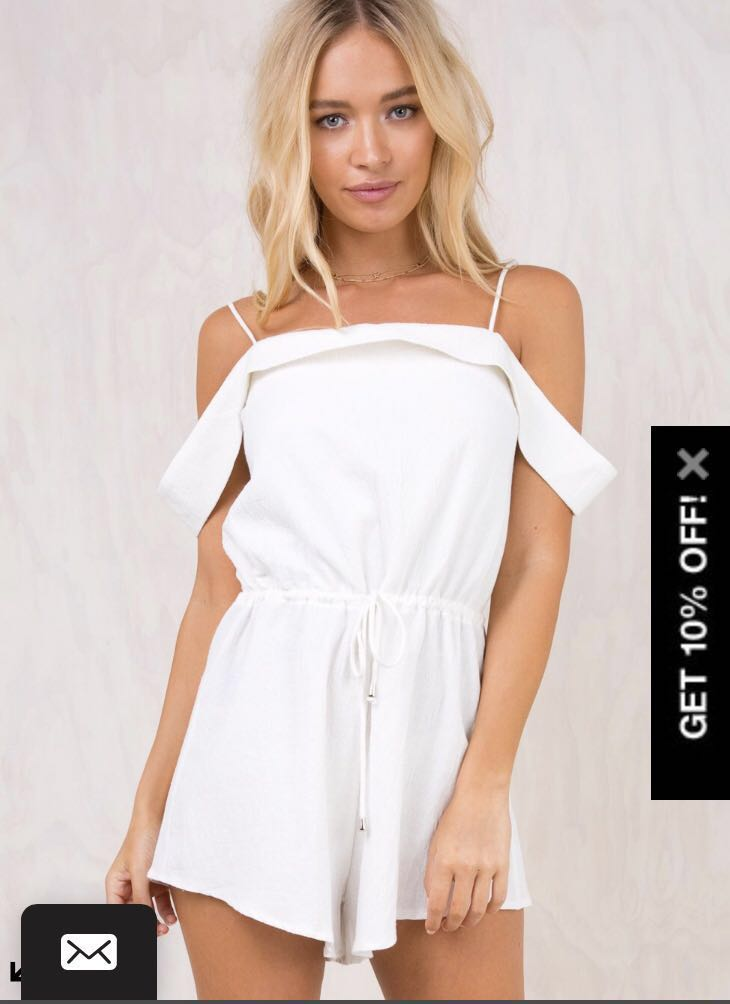 White off the shoulder playsuit