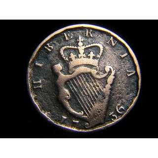 1736年大英帝國愛爾蘭(Ireland)豎琴徽1/2便士(Penny)老銅幣(英皇佐治二世像)
