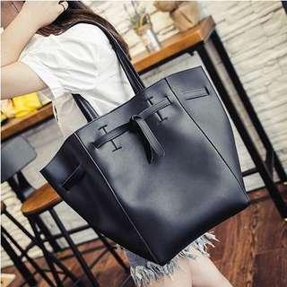 PU Leather Tote Bag - Black