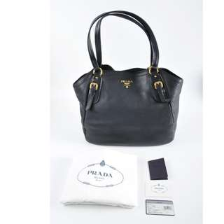 AUTHENTIC PRADA LEATHER TOTE BAG - WITH DUSTBAG & CARD