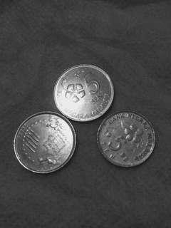 uang logam unik antik 5 sen malaysia