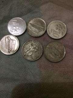 uang logam unik antik 10 sen malaysia