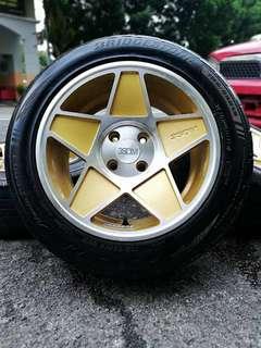 3sdm 15 inch sports rim alza tyre 70%. *jenis rim spesis terancam*