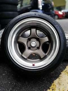 Work miestar s1 15 inch sports rim persona tyre 90%. *dibawah harga pasaran*
