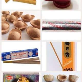 Incense (sage, myrrh, Frankincense, sandalwood, palo santo)