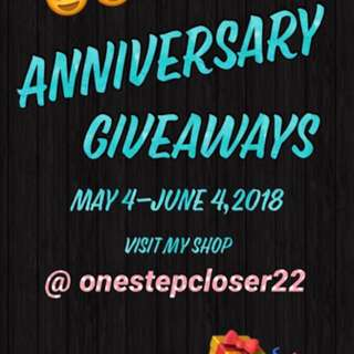 Anniversary give away @onestepcloser22