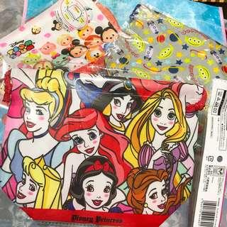 Disney tsumtsum 三眼仔 美人魚 公主 Ariel belle Rapunzel jasmine 飯袋 索繩袋
