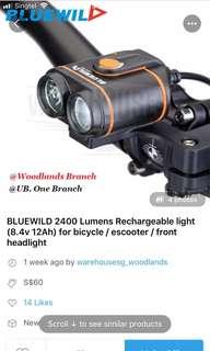 Bluewild 2400 lumens front light