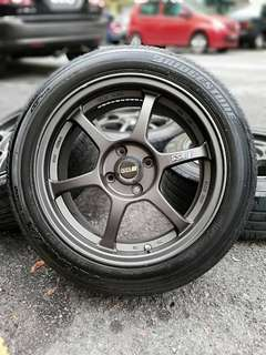 Ssr type c 16 inch sports rim swift tyre 70%. *kuat kuat offer*