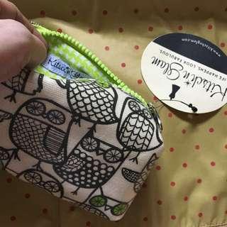 SALE! Owl print make up pouch/bag