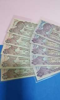 INDONESIA 5PCS SEPULOH RUPIAH#5PCS LIMA RUPIAH ALL UNC (SOME PCS VERY MINOR AGEING.