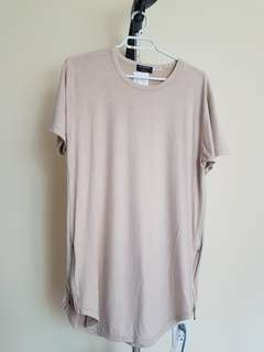 Long suede effect t-shirt, small