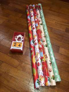 Christmas Wrapping Paper and Wood Block Calendar with Figurines