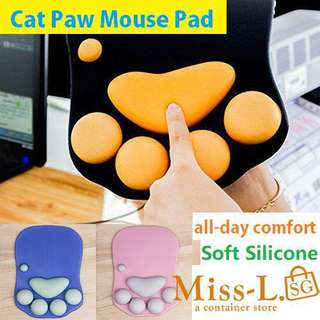 💋 MOUSE PAD WITH WRIST SUPPORT CAT PAW SOFT SILICONE