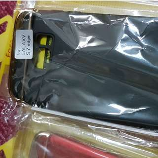 S7 edge new case red, +1 pc Screen Protector+mi usb light